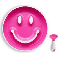 Prato Smile- Pink & Branco- 4,5Xã˜19Cm- Munchkinmunchkin