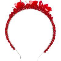 Simone Rocha Acessório Para Cabelo Com Aplicação Floral - Vermelho