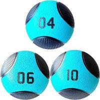 Kit 3 Medicine Ball Liveup Pro 4 6 E 10 Kg Bola De Peso Treino Funcional - Unissex