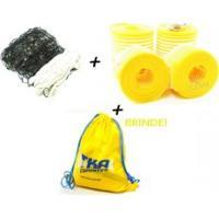 Kit Voleibol 3X1 C/ 1Rede C/Faixas 1Marcador Quadra 1Brinde - Outros