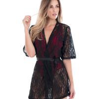 Robe Curto Renda Mangas 3/4 Vazado Fita Amarração Preta-P
