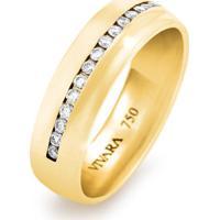 Aliança De Casamento Ouro Amarelo E Diamantes (5.5Mm)