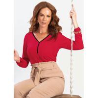 Blusa Em Tecido Flex Com Decote V Vermelho
