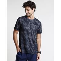 Camiseta Masculina Esportiva Ace Com Estampa Geométrica Manga Curta Gola Careca Preta