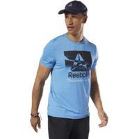 Camiseta Reebok Estampada Wor Activchill Ss Masculina - Masculino-Azul