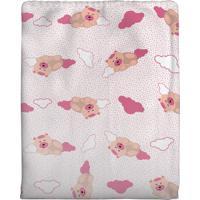 Cobertor Era Uma Vez Em Algodão Para Bebê Ursinha Rosa 70 X 90Cm