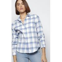 Camisa Xadrez Flanelada Com Bolso - Branca & Azullevis