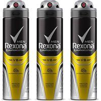 Kit Desodorante Rexona Men V8 48 Horas Aerosol Masculino 150Ml Com 3 Unidades - Masculino