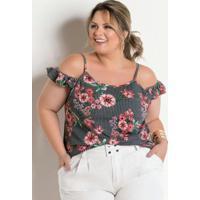 Blusa Ciganinha Floral E Listras Plus Size