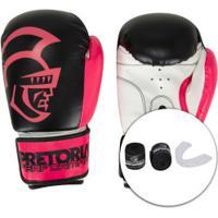Kit De Boxe Pretorian: Bandagem + Protetor Bucal + Luvas De Boxe Start - 12 Oz - Adulto - Preto/Rosa