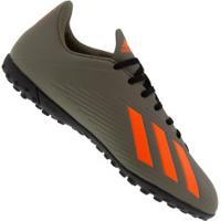 Chuteira Society Adidas X 19.4 Tf - Adulto - Verde Esc/Laranja