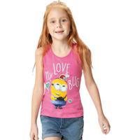 Blusa Rosa Minions® Menina Malwee Kids