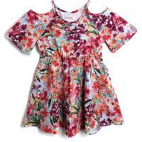 Vestido Carinhoso Floral Laranja/Rosa
