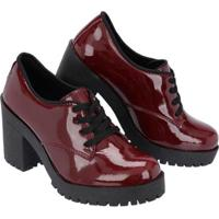 Sapato Oxford Cano Curto Selten Feminino - Feminino-Vinho