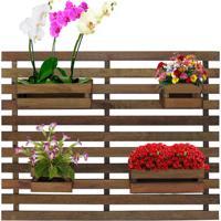 Floreira Jardim Vertical 100 X 80Cm Com 4 Cachepot Em Madeira Maciça Rústico