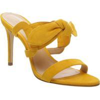 Tamanco Em Couro Com Laço- Amarelo- Salto: 7,7Cmschutz