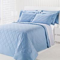 Colcha Matelasse-Royal Comfort-Casal-03 Pçs-Azul