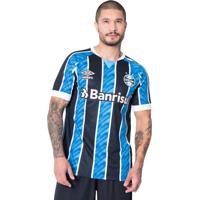 Camisa Masculina Umbro Grêmio Oficial 1 2020 C/N 11 Azul/Preto - Gg