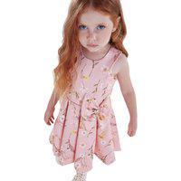 Vestido Infantil Rosa Flores Kiki Xodó 1 Rosa