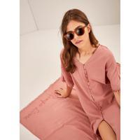 Vestido Midi + Canga Algodão Bordado Tempo Livre Rosa
