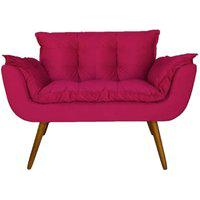 Namoradeira Poltrona Sofá Decorativa 02 Lugares Opalla Pés Palito Pink - Ds Móveis