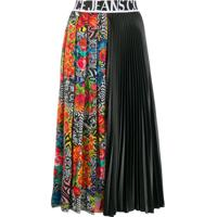 Versace Jeans Couture Printed Pleated Midi Skirt - Preto