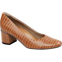 Sapato Em Couro Texturizado- Laranja & Marrom Claro-Usaflex