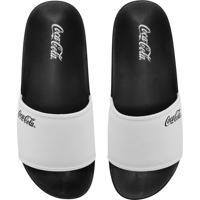 Chinelo Coca Cola Shoes Slide Logo Branco