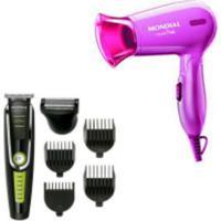Maquina Cortar Cabelo Aparador Barba Mondial Bg-04 6 Em 1 E Secador De Cabelo Fashion Pink Mondial Bivolt