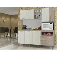 Cozinha Compacta Jade Sem Tampo Arena/Nogal - Kits Paraná