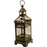 Lanterna Decorativa De Metal Envelhecido E Vidro Arfa Pequena