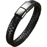 Pulseira Bracelete Em Couro Artestore Com Fecho Em Aço Masculina - Masculino-Preto
