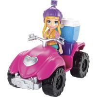 Boneca Polly Pocket Quadriciclo Fabuloso Com Acessórios Azul E Rosa