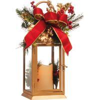 Lanterna Decorativa Natalina- Dourada & Vermelha- 38Cromus
