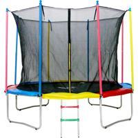 Cama Elástica 3,05M Henri Trampolim Linha Home Plus Com Zíper Multicolorido