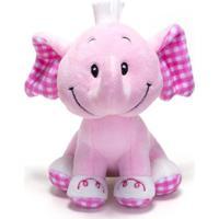 Chocalho De Pelucia Unik Toys Elefante Rosa