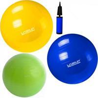 Kit Pilates Com 3 Bolas Suicas 55 Cm + 65 Cm + 75 Cm Com Mini Bomba Liveup - Unissex