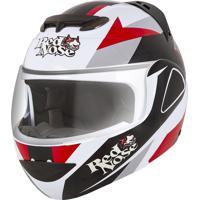 Capacete Articulado Pro Tork Robocop V-Pro Jet Red Nose Branco/Vermelho