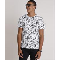 "Camiseta Masculina Estampada ""Seattle Grunge"" Manga Curta Gola Careca Branca"