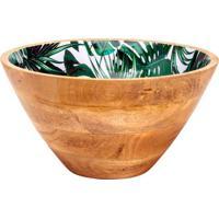 Saladeira Leafage Folhagem- Marrom & Verde- 15,5Xã˜30Bon Gourmet