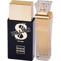 Paris Elysees Billion + Billion Woman - Perfume Feminino + Perfume Masculino Kit - Unissex-Incolor