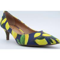 Scarpin Limões- Azul Escuro & Amarelo- Salto: 5,5Cmcecconello
