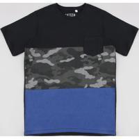 Camiseta Juvenil Com Recortes E Bolso Manga Curta Preta