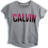 Blusa Calvin Klein Kids Menino Lettering Cinza