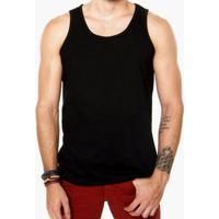 Camiseta Regata Criativa Urbana Lisa Básica - Masculino-Preto