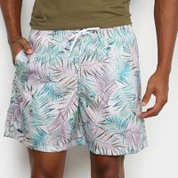 Shorts Mash Estampado Floral Color Masculino - Masculino-Branco