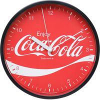 Relógio De Parede Plástico Coca-Cola Enjoy Preto E Vermelho 225X41X225Cm Urban