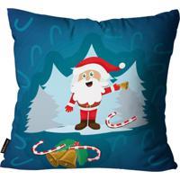 Almofada Premium Cetim Mdecore Natal Papai Noel Azul 45X45Cm