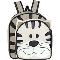 Mochila Kids Tigre- Bege & Bege Escuro- 36X34X7Cm