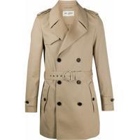 Saint Laurent Trench Coat Abotoamento Duplo Com Cinto - Neutro